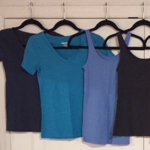Four Blue Old Navy Basic Tees and Tank Tops